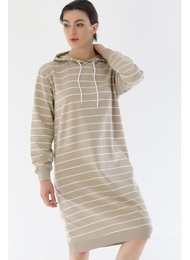 Emjey Çizgili Uzun Sweat Elbise Vizon